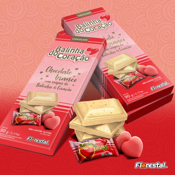 Chocolate Branco Balinha Coração 10 Unidades